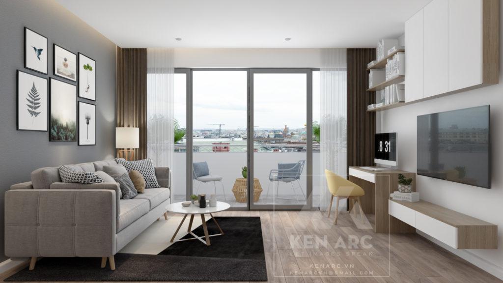 vẽ phối cảnh 3D nội thất phòng khách