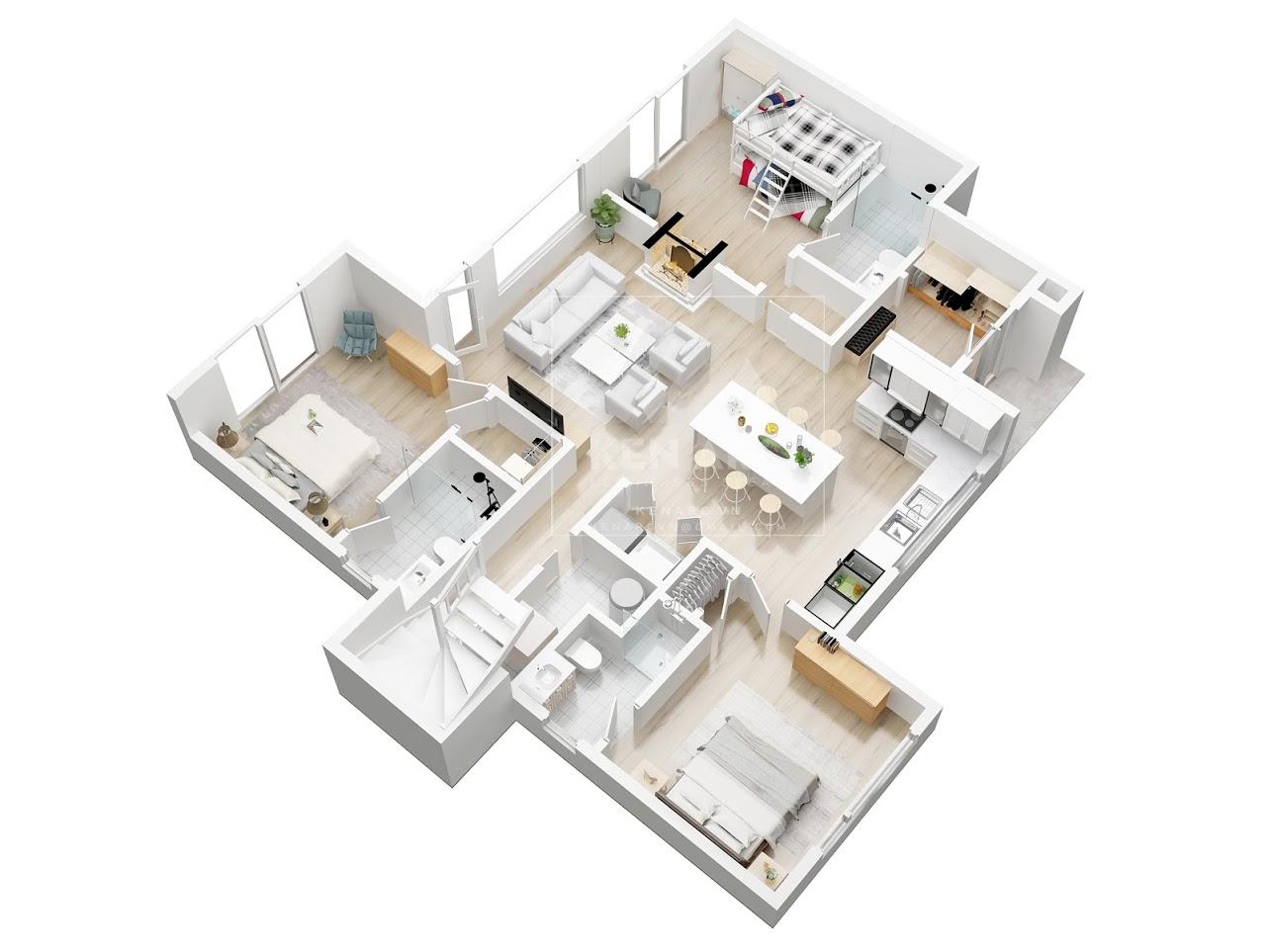 ve mat bang 3d floor plan