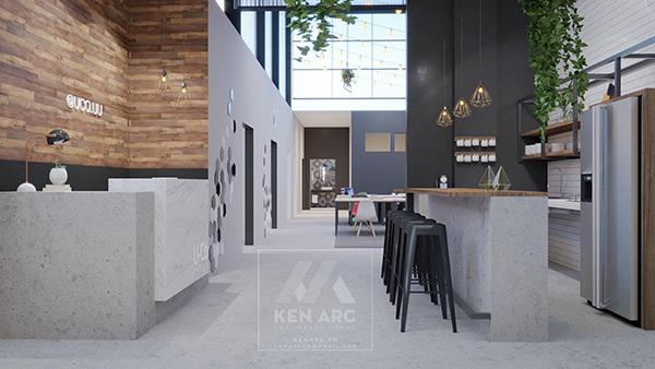 thiết kế nội thất kenarc_phối cảnh coffee và dịch vụ