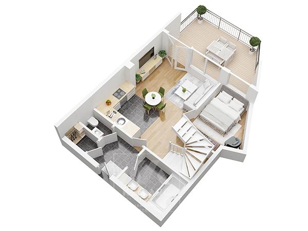vẽ phối cảnh mặt bằng căn hộ 3D 2